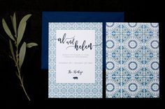 Blue, Portuguese tile inspired, destination wedding invitation by Rose, Paper, Scissors. Modern calligraphy with pig detail