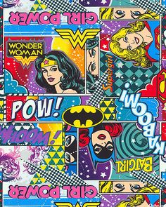 Girl Power - Warrior Princesses - Multi ...love this Wonder Woman quilt fabric