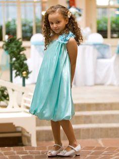 Off Shoulder Silky Satin Flower Girl Dress