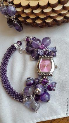 Купить Аметистовые часы- браслет - аметист, аметисты, аметистовый браслет, аметистовый цвет