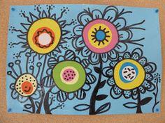 Les enfants ont réalisé des fleurs comme sur le site de krokotak.com ! (cliquez ici pour le découvrir) Les enfants ont d' abord pein... Spring Art Projects, Fleurs Diy, Cute Birthday Cards, Art Plastique, Diy Cards, Art School, Art Lessons, Painted Rocks, Fabric Design