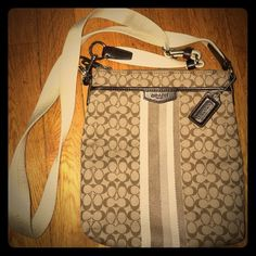 """Authentic Coach Signature Canvas Crossbody Authentic, Classic """"C"""" monogram Signature Canvas Crossbody Bag *Like New"""" used one or twice Coach Bags Crossbody Bags"""