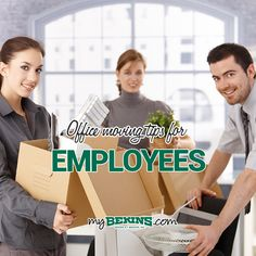 Bekins Moving Solutions has assisted many businesses of all sizes with their office moving. Here are few of our best office moving tips for employees. Office Relocation, Office Moving, Moving Tips, Working Together, Organizing, Packing, Bag Packaging, Moving Hacks