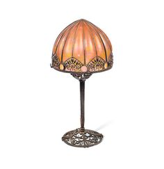Raymond Subes and Daum An Art Deco Wrought Iron and Coloured Glass Table Lamp, circa 1925.