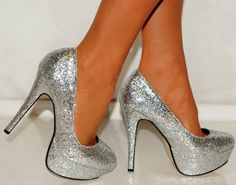 Buy New: £19.99 [UK & Ireland]: Shoes: Ladies Womens Silver Metallic Glitter Court Sparkly High Heels Shoes Platforms Prom 3-8