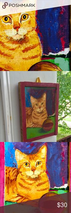 Technicolor Tabby painting cobalt, lime green, red I lovingly re-arted a painting of bland tabby with sad play ball.  She's been reincarnated into a happy place.  Acrylics with rustic chalk paint attached wood frame.  Yellow satin ribbon affixed for hanging.   Beautiful, shabby-chic art, psychedelic kitty cat, repurposed, recycled decor for home, gift. Other