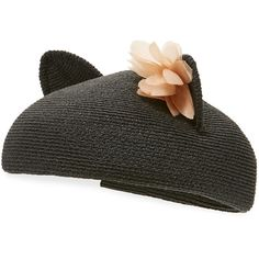Eugenia Kim Caterina Braided Cat-Ear Beret Hat (5.450 CZK) ❤ liked on Polyvore featuring accessories, hats, black, braid crown, floral hats, band hats, cat ear beret and hemp hats