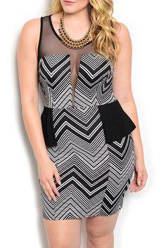 9035608638  HOT SELLER  Black White Plus Size Sexy Fitted Sheer Mesh Chevron Peplum  Dress