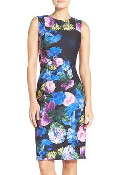 Eliza J Floral Print Scuba Sheath Dress (Regular & Petite)
