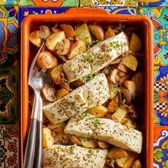 Provençal Baked Fish with Roasted Potatoes & Mushrooms Recipe - EatingWell Potato Mushroom Recipe, Mushroom Recipes, Fish Recipes, Seafood Recipes, Dinner Recipes, Paleo Dinner, Provence, Diabetic Meal Plan, Stuffed Mushrooms