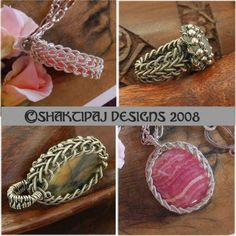 Celtic Braid Pendant Coiled Wire and Gemstone Cabochon