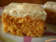 Vynikající mrkvové řezy. Czech Recipes, Ethnic Recipes, Sweet Recipes, Healthy Recipes, Sweet Cakes, Carrot Cake, Vanilla Cake, Baking Recipes, Sweet Tooth