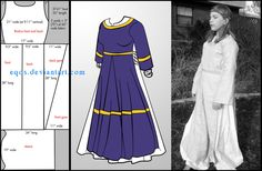 free Pattern: Open-side Overdress by eqos on DeviantArt Costume Patterns, Coat Patterns, Clothing Patterns, Dress Patterns, Gown Pattern, Simple Medieval Dress, Medieval Dress Pattern, Islamic Clothing, Medieval Clothing