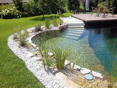 Gorgeous Natural Swimming Pool Designs For Small Backyard Swimming Pool Pond, Natural Swimming Ponds, Natural Pond, Swimming Pool Designs, Natural Garden, Pond Design, Landscape Design, Design Design, Modern Design