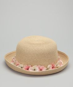 Take a look at this Natural & Pink Garland Sunhat by Carole Amper on #zulily today!