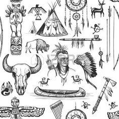 saloon western: Motif continu Symboles autochtones tribaux américains