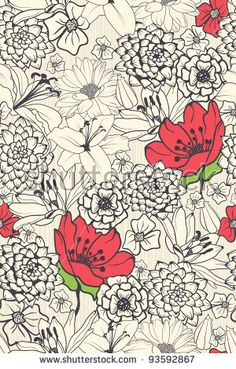 floral prints: Seamless Floral Pattern With Red Flowers On Monochrome Background Illustration Textile Patterns, Flower Patterns, Print Patterns, Textiles, Pattern Designs, Textile Prints, Textile Design, Motif Floral, Floral Prints