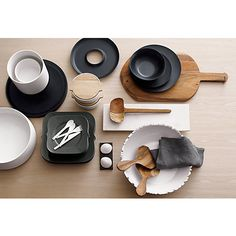 wood platter in serving pieces | CB2