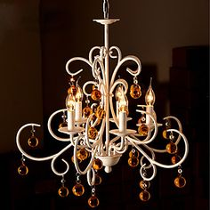 K9 Crystal Chandelier, 5 Light, Artistic Dainty Iron Painting – USD $ 299.99
