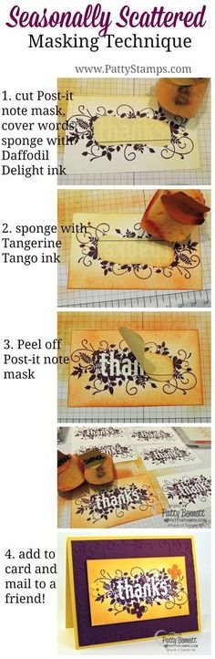 Masking and Sponging tip for Seasonally Scattered stamp image from Stampin' Up! by Patty Bennett. Could be done with just about any stamp. Card Making Tips, Card Making Tutorials, Card Making Techniques, Making Ideas, Seasonally Scattered, Karten Diy, Thanks Card, Creative Cards, Diy Cards