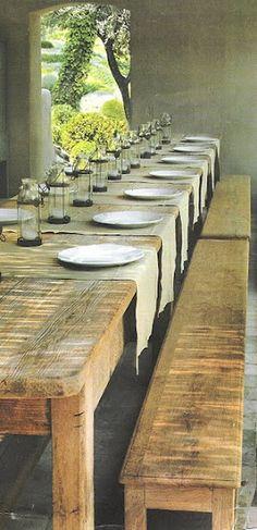 prachtige lange eettafel   robust, stoer en natuurlijk