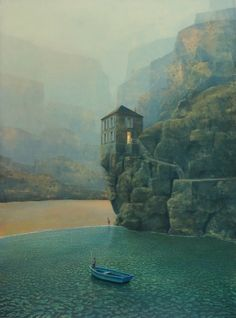 "Philippe Charles Jacquet, L'école buissonnière, 2014, Oil On Board, 48"" x 35½""  #art #surreal #axelle #twilight #water #landscape #architecture"