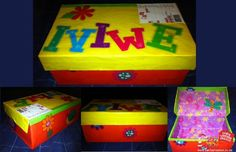 And such a cute idea to put their name on in such bright bold beautiful lettering! Beautiful Lettering, Some Ideas, Shoe Box, Fundraising, Toy Chest, Shoebox Ideas, Projects To Try, Decorative Boxes, Wraps