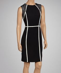 Who says a sophisticated look need blend in with the crowd? With its contrast trim and mesh panel detailing, this dress promises to stand out in style.Measurements (size 6): 36'' long from high point of shoulder to hemBack zip closure95% polyester / 5% spandexHand wash; dry flat<...