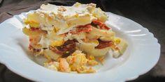 Rakott krumpli Lasagna, Feta, Bacon, Ethnic Recipes, Pork Belly, Lasagne