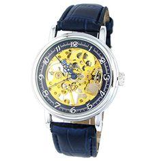 MapofBeauty Einfach und Exquisit Gold teilweise Ausgehöhlt Kunstleder Manuelle Mechanik Uhr(Blau) - http://uhr.haus/mapofbeauty/mapofbeauty-einfach-und-exquisit-gold-teilweise-2