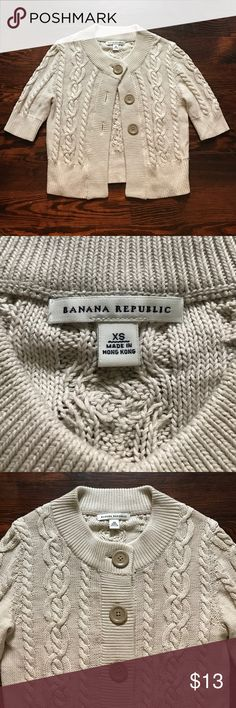 Banana Republic Cable Knit Cardigan Super cute Cardi from Banana Republic. It is a dusty cream/putty color. 100% cotton! Banana Republic Sweaters Cardigans