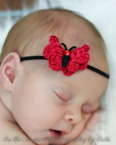 Red and Black Crochet Butterfly headband