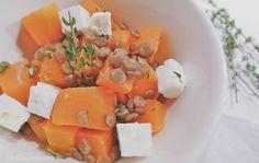 Kürbissalat an Linsen Vinaigrette / Pumpkin salad with lentils Different Salads, Pumpkin Salad, Vinaigrette, Lentils, Cantaloupe, Fruit, Food, Lenses, Recipies