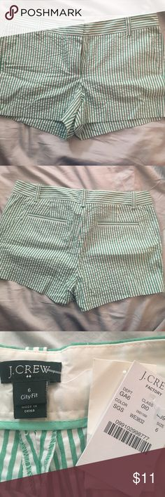 BRANDNEW seersucker J.Crew Factory City Fit Shorts Brand New!!! Green and white striped seersucker  J. Crew Factory City Fit Size 6 shorts!! Perfect for summer!!! J. Crew Factory Shorts