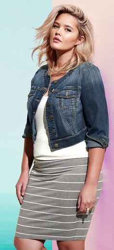 Plus Size Striped Foldover Midi Skirt