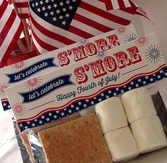 Theres more celebrating after the fireworks. Time for SMORES! This listing is for Printable Bag Toppers sized 7 inches wide to fit Fourth Of July Decor, Happy Fourth Of July, 4th Of July Celebration, 4th Of July Decorations, 4th Of July Party, July 4th Wedding, Pallet Decorations, Holiday Decorations, Favorite Holiday