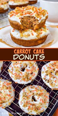 Carrot Cake Donuts Carrot Cake Donuts – these soft baked donuts with cream cheese frosting is the best way to enjoy carrot cake for breakfast. Try this easy recipe for Easter breakfast. Baked Donut Recipes, Baking Recipes, Dessert Recipes, Cake Recipes, Food Cakes, Cupcake Cakes, Muffin Cupcake, Homemade Donuts, Homemade Vanilla