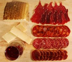 Famous Spanish Iberico hams and Manchego cheese