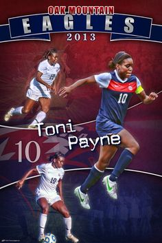 We were honored to create a personalized soccer banner for Toni Payne of the Oak Mountain High School soccer team who has signed to play at the next level at Duke University.  Her accompaniments speak volumes as she won the Gatorade 2013 Alabama Girls Soccer Player of the Year, made the All-State girls soccer team, and the Metro Girls Soccer Player of the Year to name a few.  The personalized soccer banner featured our new Back To Back design.