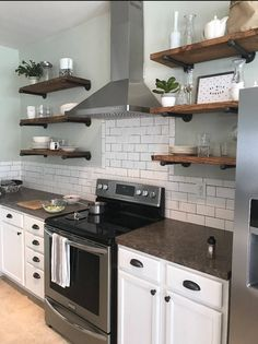 Any Size Floating Shelves, Kitchen Shelves, Industrial Pipe Shelves, Open Shelving, Laundry Room & Bathroom Wood Wall Shelves Rustic Kitchen, Country Kitchen, New Kitchen, Kitchen Decor, Kitchen Ideas, Kitchen Small, Kitchen Designs, Awesome Kitchen, Kitchen Modern