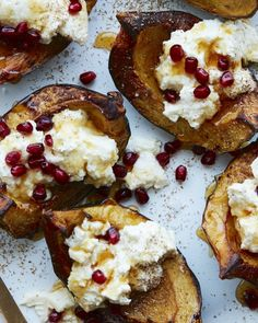 This savory-sweet roasted acorn squash topped with ricotta and pomegranate seeds is about to be your new fav fall side dish! Tandoori Chicken, Thanksgiving Recipes, Holiday Recipes, Dinner Recipes, Veggie Dishes, Side Dishes, Main Dishes, Whats Gaby Cooking, Acorn Squash