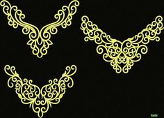 Embroidery Neck Designs, Embroidery Patterns, Sewing Patterns, Tambour Embroidery, Ribbon Embroidery, Crochet Bra, Jewelry Design Drawing, Dance Accessories, Islamic Art Calligraphy
