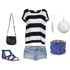 """blue.."" by kandis-hunter on Polyvore - simple with tons of  character"