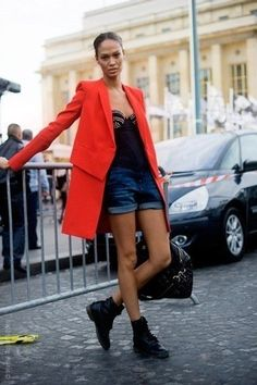 Joan Smalls street style with red coat. #joansmalls