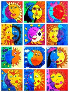 What color to paint the sun? What color to paint the moon? Could be part of a lesson in warm/cool colors...