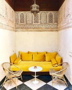 "2,122 Likes, 38 Comments - El Fenn Hotel Marrakech (@elfennmarrakech) on Instagram: ""Who wouldn't love a golden sofa nestled in a hand-carved plasterwork nook.....? #elfenn #marrakech…"""