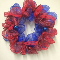 Blue and red deco mesh wreath ❤️ #deco #mesh #wreath #red #blue #decomeshwreaths #wreaths