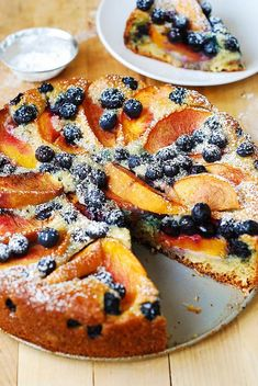 berry desserts, berry cake, cake with blueberries and peaches