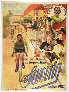 Saving Original Vintage Bicycle Poster - Cycling - Auzolle | eBay