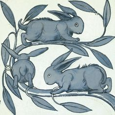 William De Morgan - Rabbits Running Along a Branch